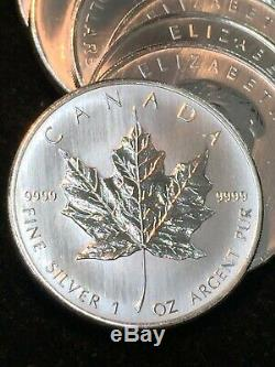 Roll of (25) 2008 $5 Canadian Maple Leafs. 9999 Fine Silver