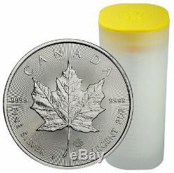 Roll of 25 2020 Canada 1 oz Silver Maple Leaf $5 Coins GEM BU PRESALE SKU59993