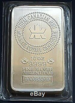 Royal Canadian Mint RCM 10 oz 9999 Fine Silver Bar, SEALED FREE SHIPPING
