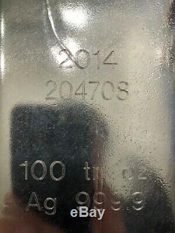 Silver Bullion Bar, 100 oz t, 0.9999 Purity (99.99%) Ag, Royal Canadian Mint