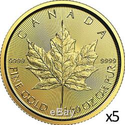 0,5 Oz 5 X 1/10 Oz 2019 Or Feuille D'érable Coin Rcm. Au 9999