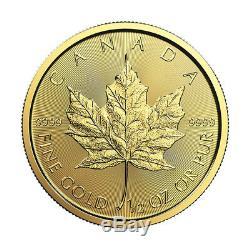 1/2 Oz D'or 2019 Feuille D'érable Mrc. 9999 0,5 Oz Pièce D'or De La Monnaie Royale Canadienne
