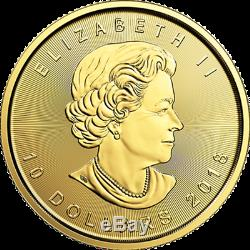 1/4 Oz D'or 2019 Feuille D'érable Coin Mrc. 9999 Au Monnaie Royale Canadienne