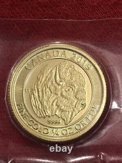 1/4 Oz De Pièce D'or. Bison Canadien Rare 2019 10 $