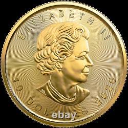 1/4 Oz Pièce Feuille D'érable D'or 2020 Monnaie Royale Canadienne
