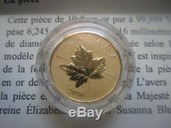 1/5 Oz 6,25 G Feuille D'érable En Or Pur Coin Piedfort Rare Seulement 3000 Monnayé