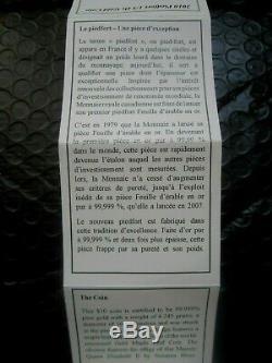 1/5 Oz (6,25 G) Feuille D'or Érable Pur Pièce Rare Seulement 3000 Frappées