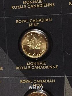 1 Gramme D'or Fin 2015 Canada'maplegram ' 50c Pièces 5 Coin Scellé Strip