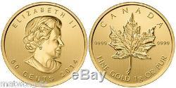 1 Gramme De 50 Cents Gold Maple Leaf Coin Canada. 9999 2014 2015 Bullion, Ou 2016