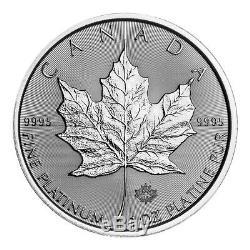 1 Oz 2019 Érable Feuille Canadienne Platine Pièce