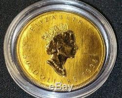 1 Oz 9999 Or 1996 Érable Pur Canadien Feuille Coin Encapsulé