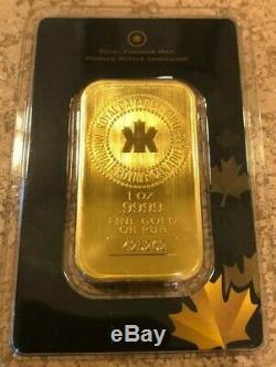 1 Oz Monnaie Royale Canadienne Gold Bar. 9999 Fine Scellé Dans Le Dosage