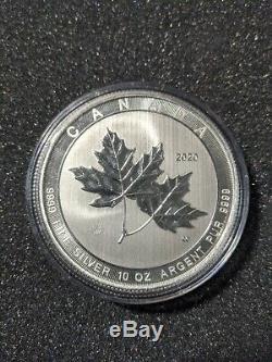 10 Oz 2020 Argent Magnifique Feuille D'érable Coin Bullion Rcm 9999 Livraison Gratuite