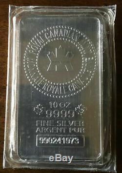 10 Oz. 9999 Fin Mrc Monnaie Royale Canadienne D'argent Pur Bar Scellé En Usine