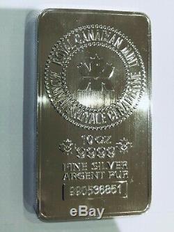 10 Oz Monnaie Royale Canadienne Argent Bar. 9999 En Argent Fin Bullion