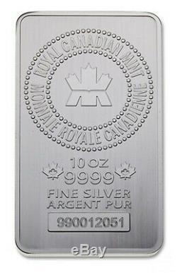 10 Oz Monnaie Royale Canadienne Argent Bar. 9999 Pas De Réserve! Nouveau En Plastique Manches