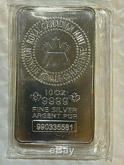 10 Oz Monnaie Royale Canadienne (mrc). 9999 Fin Barre D'argent (scellé)