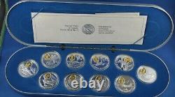 10 Pièces De La Série Aviation Sterling Silver Set Avec 24-karat Gold Rcm