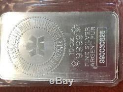 10 Silver Bar Oz Rcm Monnaie Royale Canadienne. 9999 Argent Fin Lingot Pur
