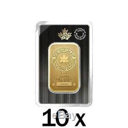 10 X 1 Oz 2018 Gold Bar. 9999 Or Nouveau Design Assay Monnaie Royale Canadienne