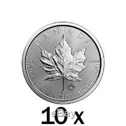 10 X 1 Oz D'argent Feuille D'érable Monnaie Rcm Monnaie Royale Canadienne