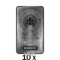 100 Oz 10 X 10 Oz Silver Bar Monnaie Royale Canadienne Mrc. 9999 Ag