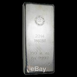 100 Oz D'argent Bar Rcm (2014 /. 9999 Fine) Sku # 169990