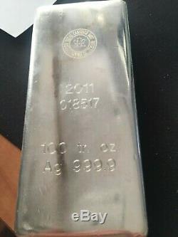 100 Silver Bar Ounce Monnaie Royale Canadienne (mrc) Old Design 2011