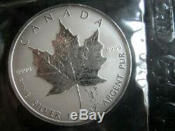 12 Silver Maple Leaf. 9999 1 Oz Zodiac Roman Mark Cellophane Privé Rcm Scellé