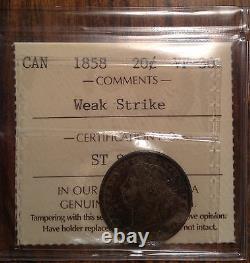 1858 Canada Argent 20 Cents Certifié Vf-30 Par Le Ciec Un Coup D'oeil