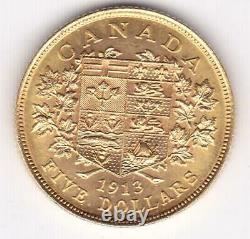 1913 Canada Vendu 5 $ George V Cinq Dollars Coin