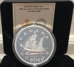 1949-2019 70th Anniv Newfoundland Joining Canada 5oz Silver Proof $1 Dollar Coin
