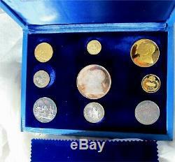 1971 Qatar Silver & Gold Dinar Ensemble Épreuve Numismatique Case Royale Canadienne Rare