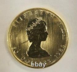 1985 Canadian 50 Dollar Maple Leaf 1 Oz Gold Coin