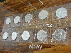 1989 5 $ Feuille D'érable Du Canada 1 Troy Oz. 9999 Fine Silver Coin Mint Sealed Lot De 10