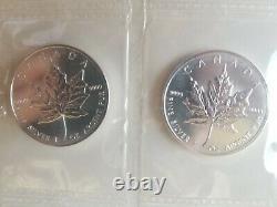 1996 Rare Date Feuille D'érable D'argent Canadien 10 Oz De Lingots Argentés Purs! Mrc