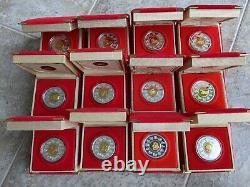 1998-2009 Lunar Coin Royal Canadian Mint Silver 15 $, 12 Boîtes Ensemble Complet