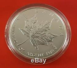 1998 Canada 50 Dollar 10 Feuille D'érable En Argent Ounce Coin. 9999 Pur Capsule