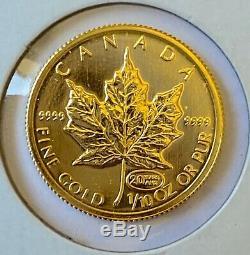 1999 Canada 1/10 Onces. 9999 Or Fin Feuille D'érable 5 Dollars