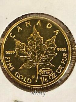 1999 Feuille D'érable D'or Du Canada 1/4 Oz 9999 Sp Ed 20 Ans Ans Privy Seulement 500 Minted