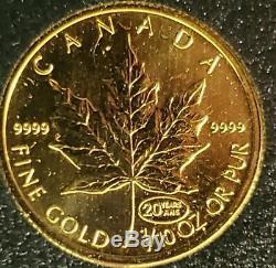 1999 Or Canadien Privé Maple Leaf 1/10 Oz (ans 20 Ans)