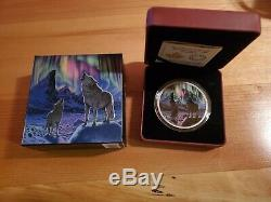 2 Oz. Argent Fin Glow-in-the-dark Coin Northern Lights Dans Le Clair De Lune