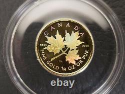 2001 1/4 Oz Or Feuille D'érable Canadienne Hologramme Pièce De Monnaie Basse Menthe Sku-x1091