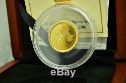 2001 Canada $ 10 Maple Leaf 1/4 Oz Hologram. 9999 Or Fin -limited Édition Ogp