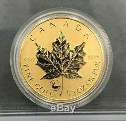 2001 Privé Viking 1/2 Oz 9999 Or Fin Canada Feuille D'érable Pièce D'or Tirage Limité