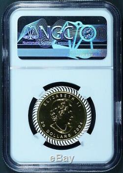 2004 Canada 20 $ 25 Ann Maple Leaf 1/2 Onces. 9999 Pièce En Or Avec Argent Ngc Ms 70