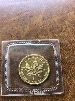 2008 Rcm Sealed Canada 1/20 Onces. 9999 Or Maple Leaf Mint