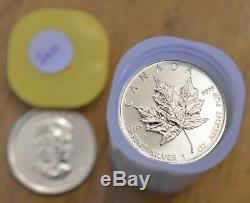 2010 Rouleau De 25 1 Oz Coins Canada Leafs Au Canada Silver Maple Uncirculated. 9999