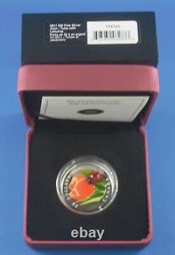 2011 1 Oz D'argent Avec Coccinelles En Verre Vénitien Tout Comme IL Venait De La Mrc