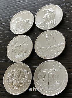 2011,2012 Et 2013 Canada Faune Série 1 Oz. 9999 Fin Coins Argent (set Of 6)